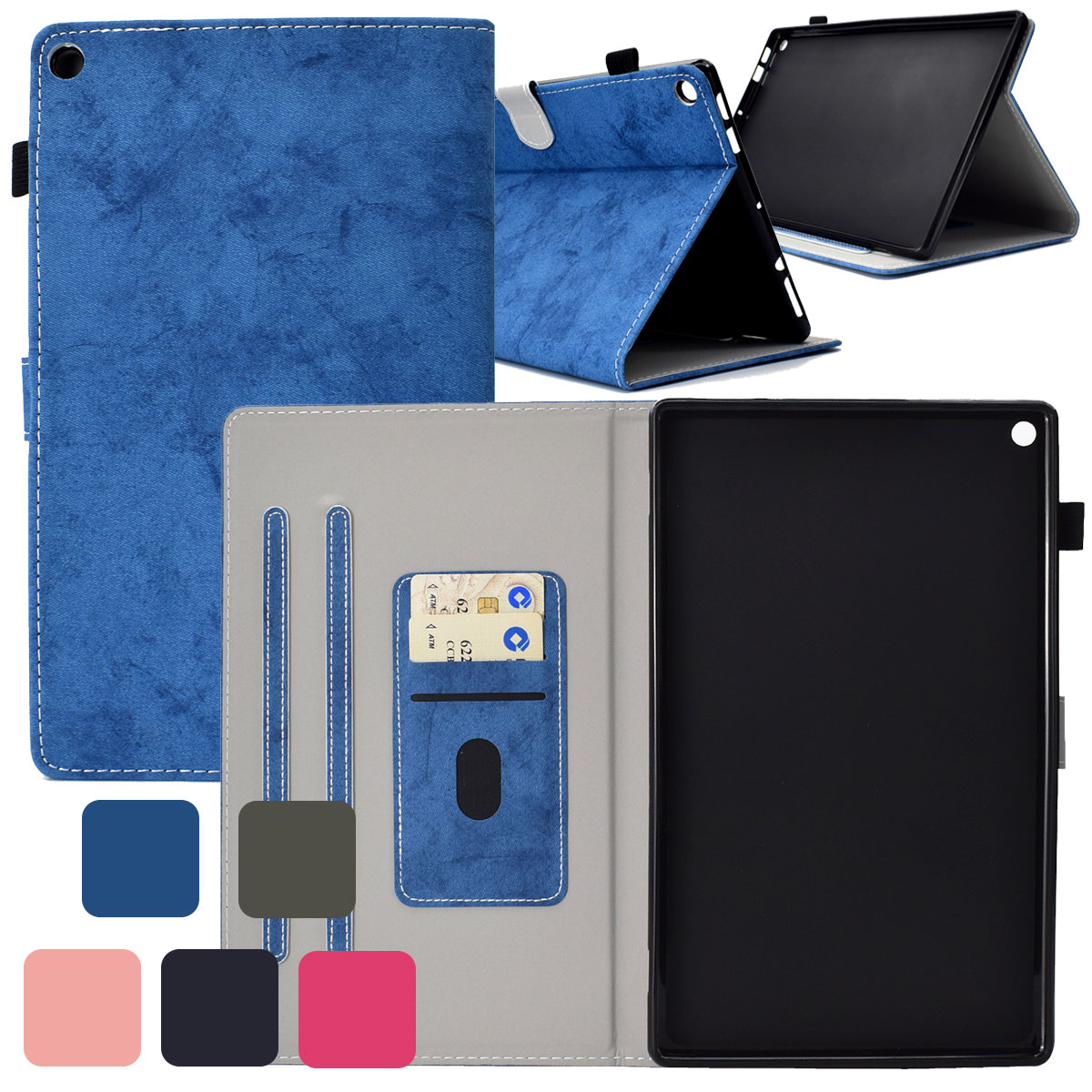 Elegant Leather Case Card Slot Stand Cover For Amazon Fire H