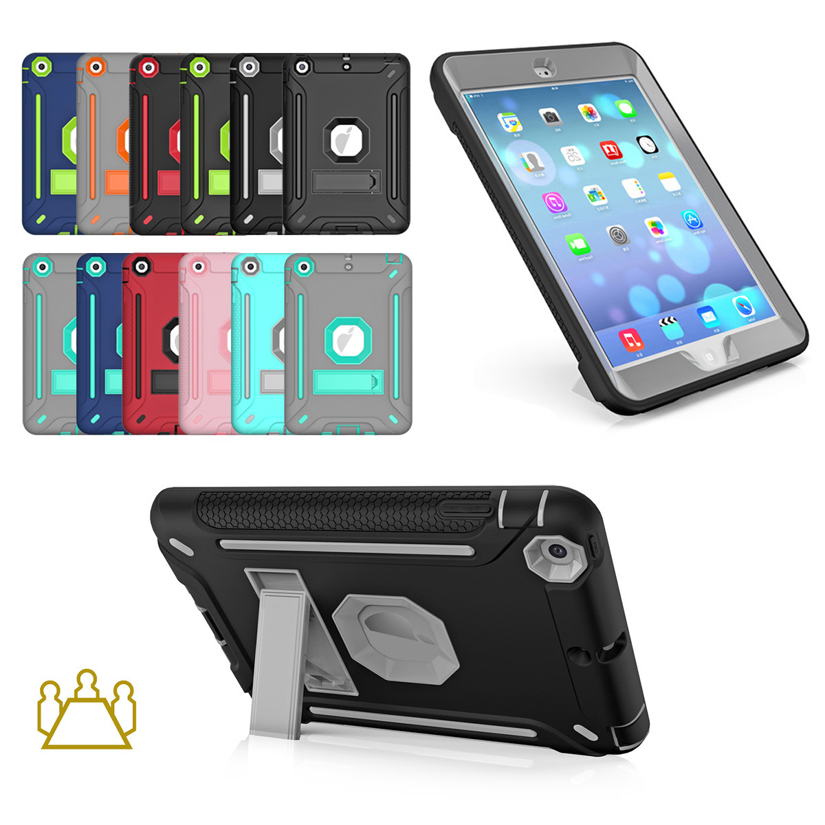 Rubber Armor Defender Silicone Case Stand Cover For iPad min